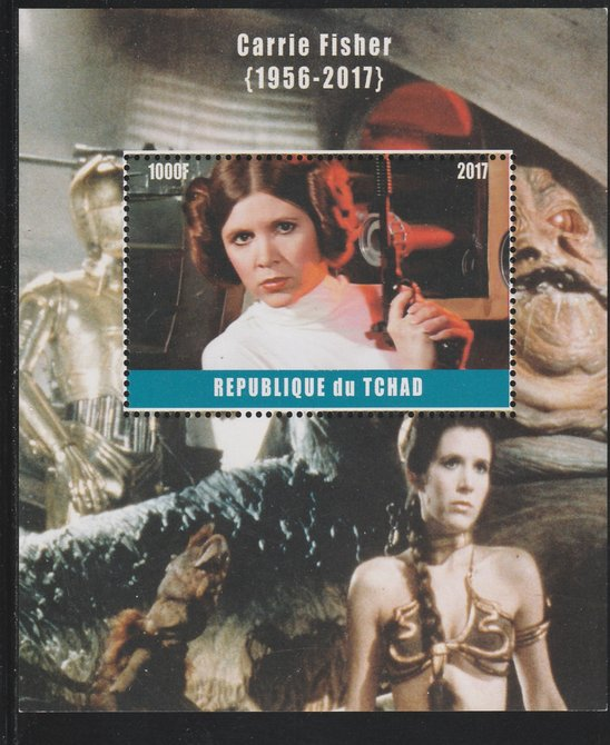 Chad 2017 Carrie Fisher perf s/sheet containing 1 value unmounted mint. Note this item is privately produced and is offered purely on its thematic appeal. .