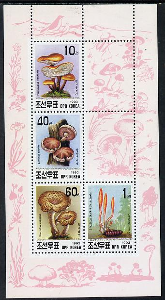 North Korea 1993 Fungi sheetlet #1 containing 10ch, 40ch, 60ch & 1wn values