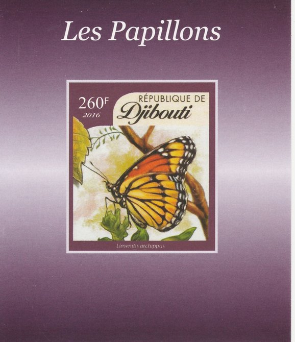Djibouti 2016 Butterflies #3 imperf deluxe sheet unmounted mint. Note this item is privately produced and is offered purely on its thematic appeal