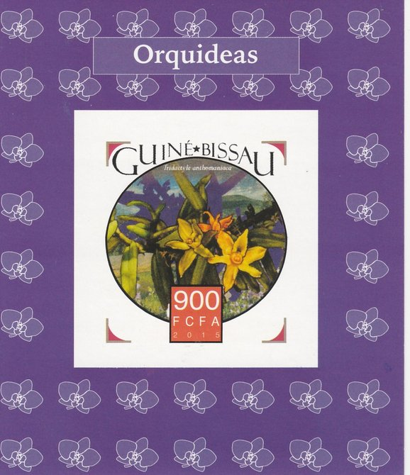 Guinea-Bissau 2015 Orchids #1 imperf deluxe sheet unmounted mint. Note this item is privately produced and is offered purely on its thematic appeal