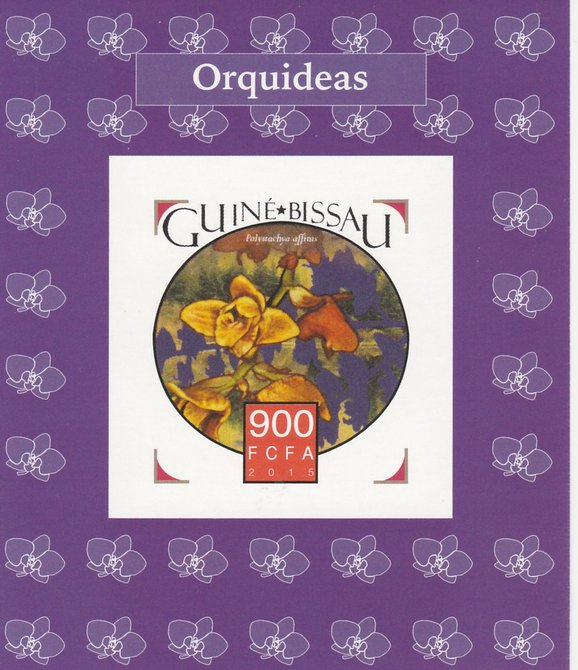 Guinea-Bissau 2015 Orchids #2 imperf deluxe sheet unmounted mint. Note this item is privately produced and is offered purely on its thematic appeal