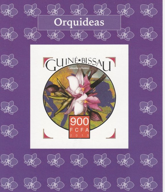 Guinea-Bissau 2015 Orchids #4 imperf deluxe sheet unmounted mint. Note this item is privately produced and is offered purely on its thematic appeal