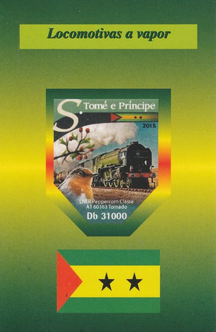 St Thomas & Prince Islands 2015 Steam Trains #3 imperf deluxe sheet unmounted mint. Note this item is privately produced and is offered purely on its thematic appeal