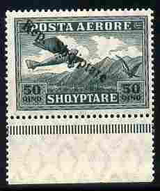 Albania 1927 Air Rep Shqiptare overprint on 5q green with upright R variety unmounted mint SG 204b