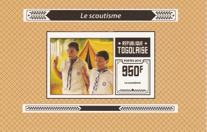 Togo 2015 Scouting #6 imperf deluxe sheet unmounted mint. Note this item is privately produced and is offered purely on its thematic appeal, stamps on scouts, stamps on