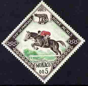 Monaco 1960 Olympic Games 5c Horse Jumping Diamond shaped unmounted mint SG 692