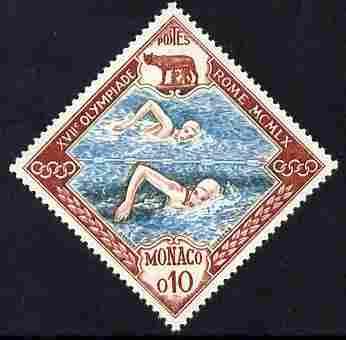Monaco 1960 Olympic Games 10c SWimming Diamond shaped unmounted mint SG 693