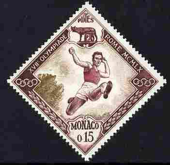 Monaco 1960 Olympic Games 15c Long Jump Diamond shaped unmounted mint SG 694