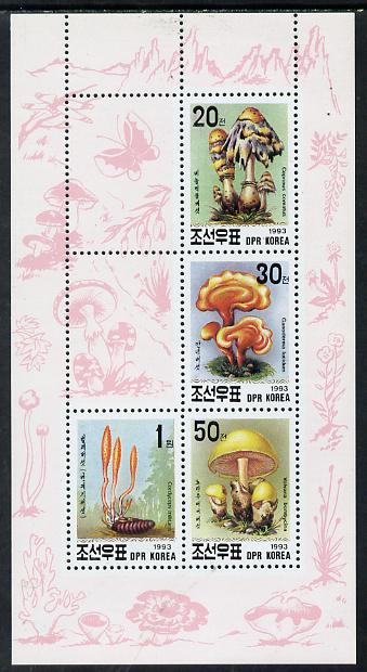 North Korea 1993 Fungi sheetlet #2 containing 20ch, 30ch, 50ch & 1wn values, stamps on fungi