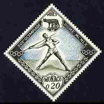 Monaco 1960 Olympic Games 20c Javelin Diamond shaped unmounted mint SG 695