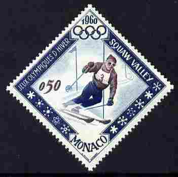 Monaco 1960 Olympic Games 50c Skiing Diamond shaped unmounted mint SG 697