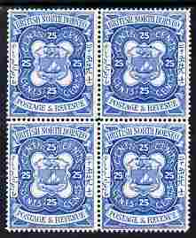 North Borneo 1888 Arms 25c perforated colour trial in blue unmounted mint block of 4, as SG 45