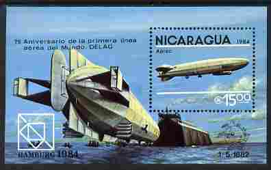 Nicaragua 1984 75th Anniversary of First Zeppelin Flight perf m/sheet with Hamburg 1984 imprint unmounted mint