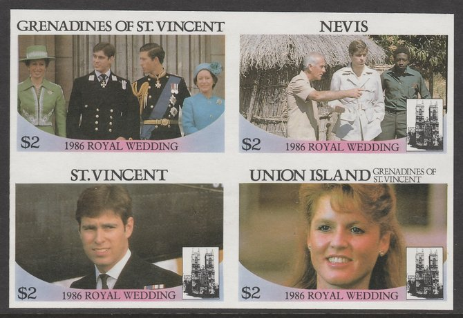 St Vincent - Grenadines 1986 Royal Wedding $2 in imperf block of 4 se-tenant with Nevis $2, St Vincent $2 and Union Island $2 unmounted mint. From an uncut trial proof sh...