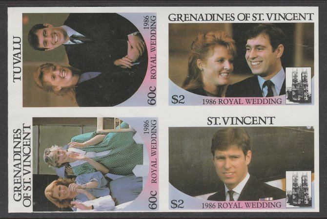 Tuvalu  1986 Royal Wedding 60c in imperf block of 4 se-tenant with St Vincent Grenadines $2 & 60c and  St Vincent $2 unmounted mint. From an uncut trial proof sheet of wh...