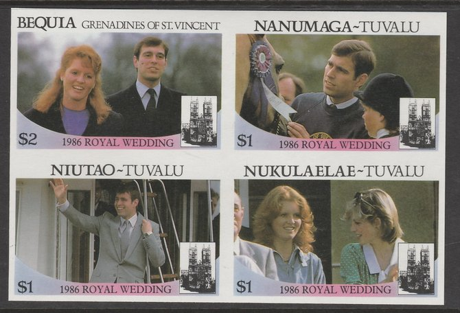 St Vincent - Bequia  1986 Royal Wedding $2 in imperf block of 4 se-tenant withNanumaga $1, Niutao $1 and Nukulaelae $1 unmounted mint. From an uncut trial proof sheet of which only 10 such blocks can exist. A recent discovery never previously offered., stamps on royalty       andrew & fergie