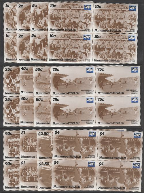 Tuvalu - Nanumea 1986 World Cup Football Champions complete set of 12 in superb unmounted mint blocks of 4