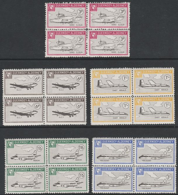 Guernsey - Alderney 1965 Aircraft perf set of 5 in unmounted mint blocks of 4