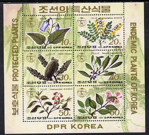 North Korea 1993 Endemic Plants sheetlet containing set of 6