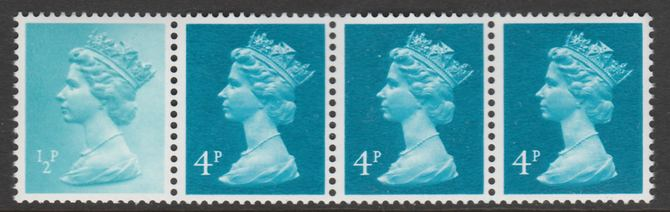 Great Britain 1981 Readers Digest multi-value coil strip of 4 (1/2p, 4p, 4p, 4p) with variety on 1/2d - Large background disturbance above Crown unmounted mint