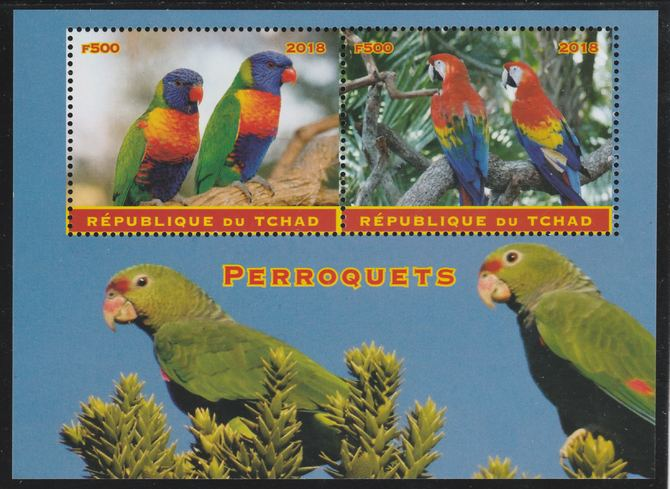 Chad 2018 Parrots perf sheetlet containing 2 values unmounted mint. Note this item is privately produced and is offered purely on its thematic appeal. .