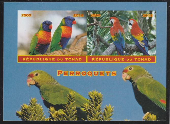 Chad 2018 Parrots imperf sheetlet containing 2 values unmounted mint. Note this item is privately produced and is offered purely on its thematic appeal. .