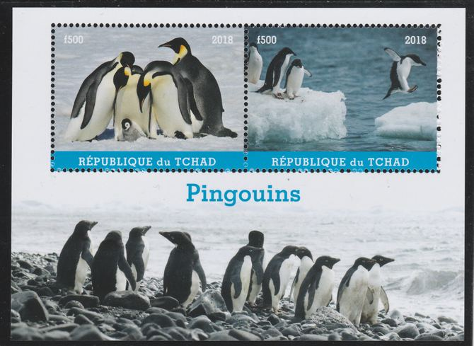 Chad 2018 Penguins perf sheetlet containing 2 values unmounted mint. Note this item is privately produced and is offered purely on its thematic appeal. .