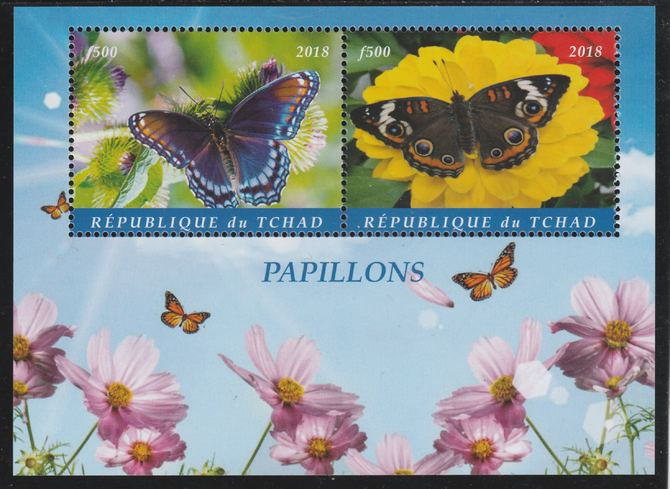 Chad 2018 Butterflies perf sheetlet containing 2 values unmounted mint. Note this item is privately produced and is offered purely on its thematic appeal. .
