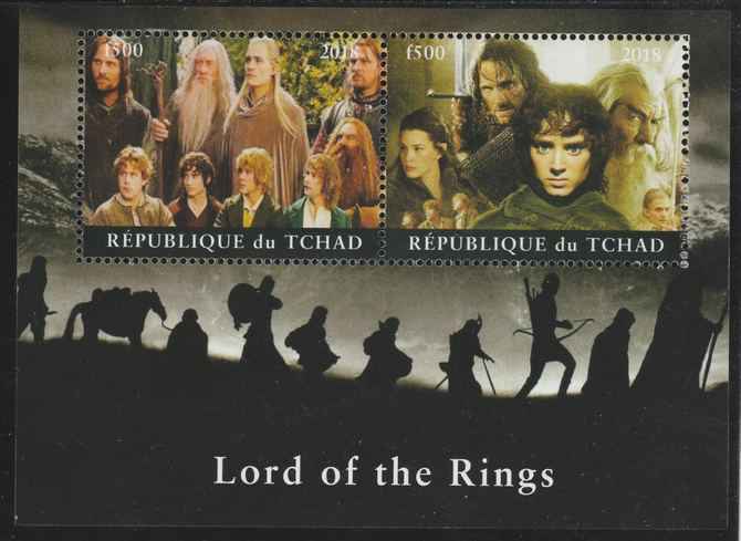 Chad 2018 Lord of the Rings perf sheetlet containing 2 values unmounted mint. Note this item is privately produced and is offered purely on its thematic appeal. .