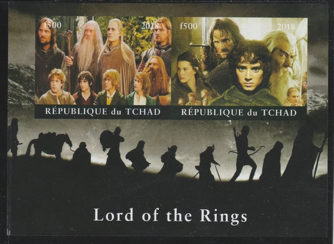 Chad 2018 Lord of the Rings imperf sheetlet containing 2 values unmounted mint. Note this item is privately produced and is offered purely on its thematic appeal.