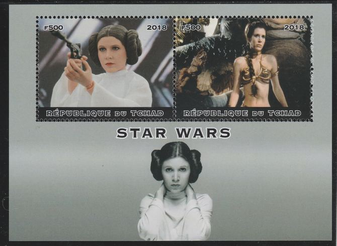 Chad 2018 Star Wars perf sheetlet containing 2 values unmounted mint. Note this item is privately produced and is offered purely on its thematic appeal. .