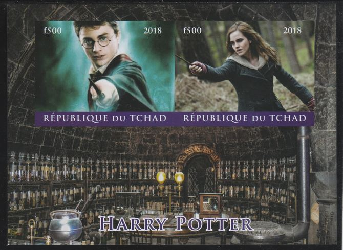 Chad 2018 Harry Potter imperf sheetlet containing 2 values unmounted mint. Note this item is privately produced and is offered purely on its thematic appeal. .