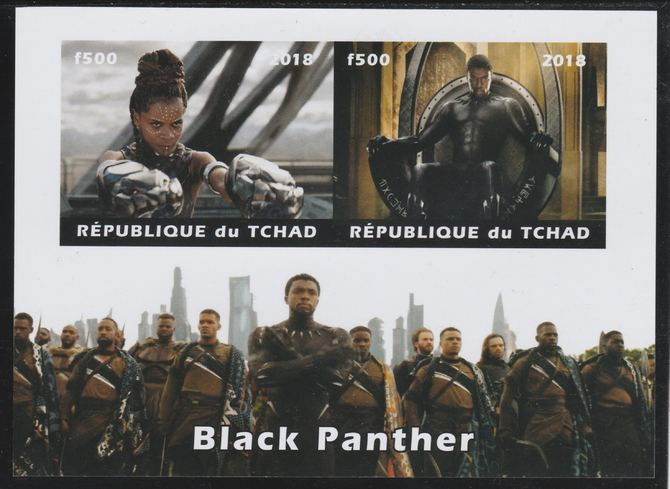 Chad 2018 Black Panther imperf sheetlet containing 2 values unmounted mint. Note this item is privately produced and is offered purely on its thematic appeal. .