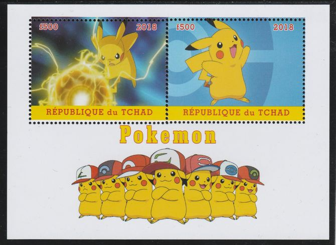 Chad 2018 Pokemon perf sheetlet containing 2 values unmounted mint. Note this item is privately produced and is offered purely on its thematic appeal. .
