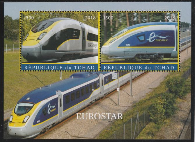 Chad 2018 Eurostar perf sheetlet containing 2 values unmounted mint. Note this item is privately produced and is offered purely on its thematic appeal. .