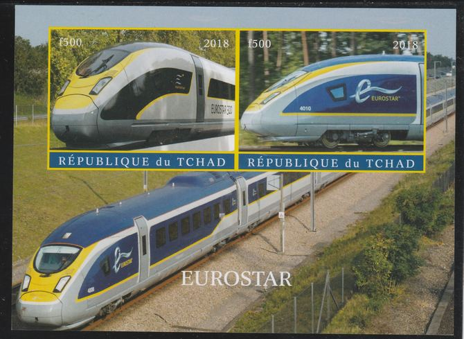 Chad 2018 Eurostar imperf sheetlet containing 2 values unmounted mint. Note this item is privately produced and is offered purely on its thematic appeal. .