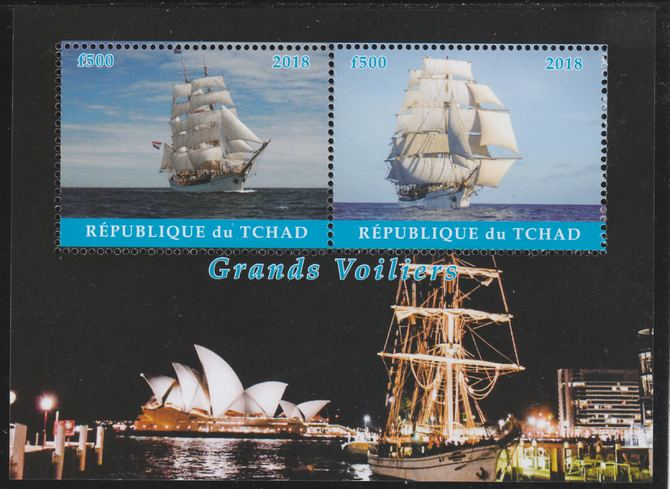 Chad 2018 Tall Ships perf sheetlet containing 2 values unmounted mint. Note this item is privately produced and is offered purely on its thematic appeal. .
