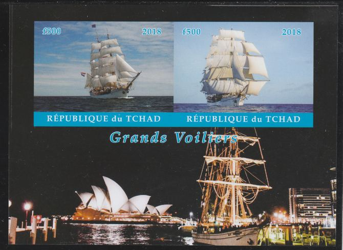 Chad 2018 Tall Ships imperf sheetlet containing 2 values unmounted mint