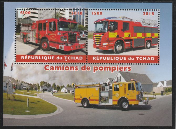 Chad 2018 Fire Trucks perf sheetlet containing 2 values unmounted mint. Note this item is privately produced and is offered purely on its thematic appeal. .