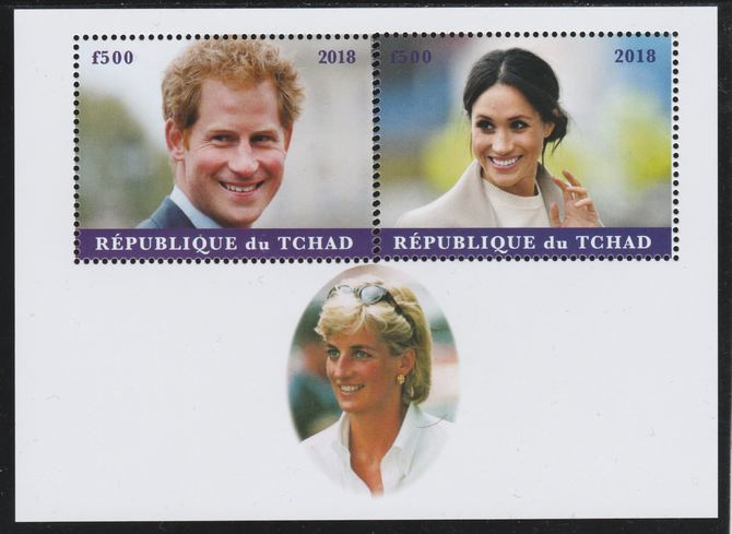 Chad 2018 Harry & Meghan perf sheetlet containing 2 values unmounted mint. Note this item is privately produced and is offered purely on its thematic appeal.