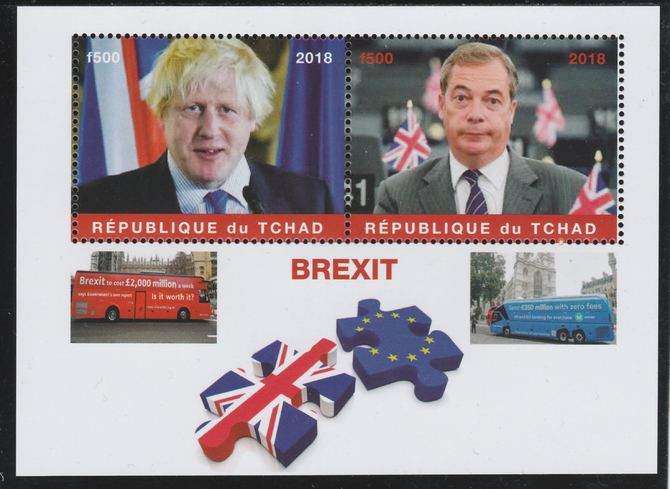 Chad 2018 Brexit perf sheetlet containing 2 values unmounted mint