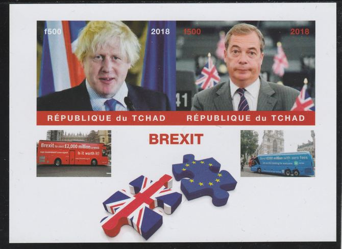 Chad 2018 Brexit imperf sheetlet containing 2 values unmounted mint