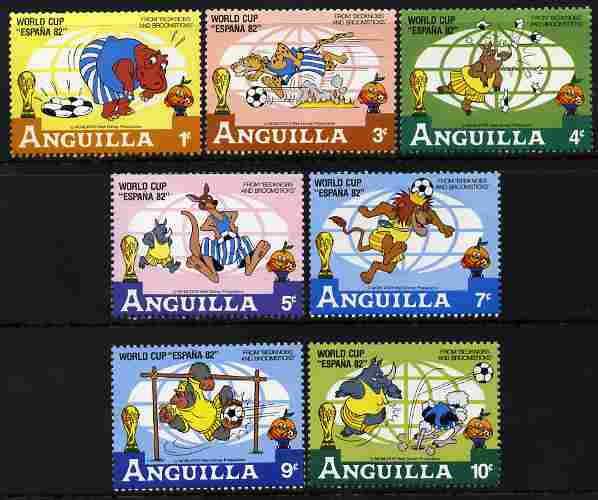 Anguilla 1982 Football World Cup short set of 7 values to 10c showing scenes from Walt Disney