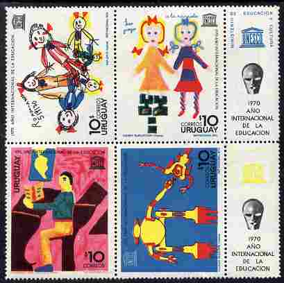Uruguay 1970 International Education Year set of 4 in se-tenant block plus 2 labels unmounted mint, SG 1443a