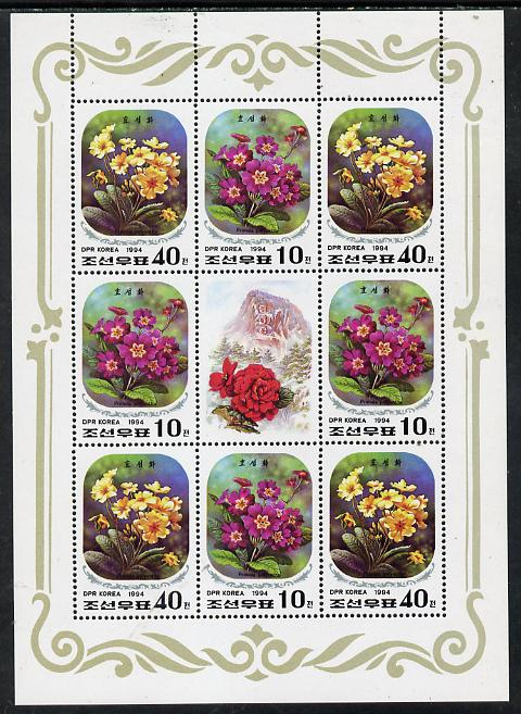 North Korea 1994 Flowers (52nd Birthday of Kim Jong Il) sheetlet containing 8 stamps (4 sets) plus label unmounted mint, as SG N3364-65, stamps on flowers