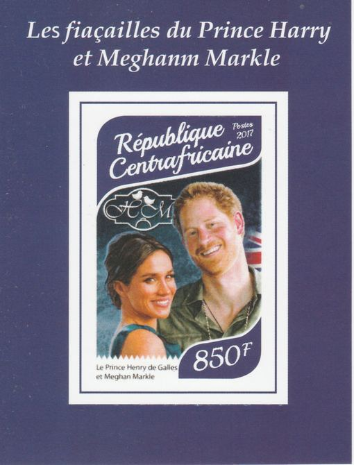 Central African Republic 2017 Prince Harry & Meghan #1 imperf deluxe sheet unmounted mint. Note this item is privately produced and is offered purely on its thematic appeal. Note this item is privately produced and is offered purely on its thematic appeal