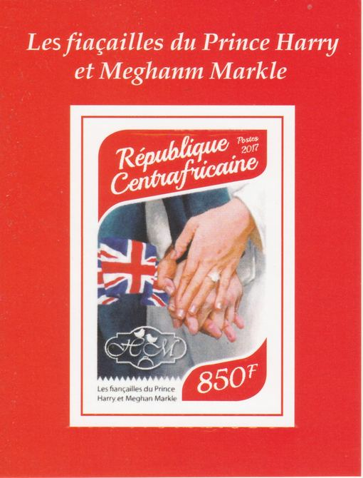 Central African Republic 2017 Prince Harry & Meghan #2 imperf deluxe sheet unmounted mint. Note this item is privately produced and is offered purely on its thematic appeal.