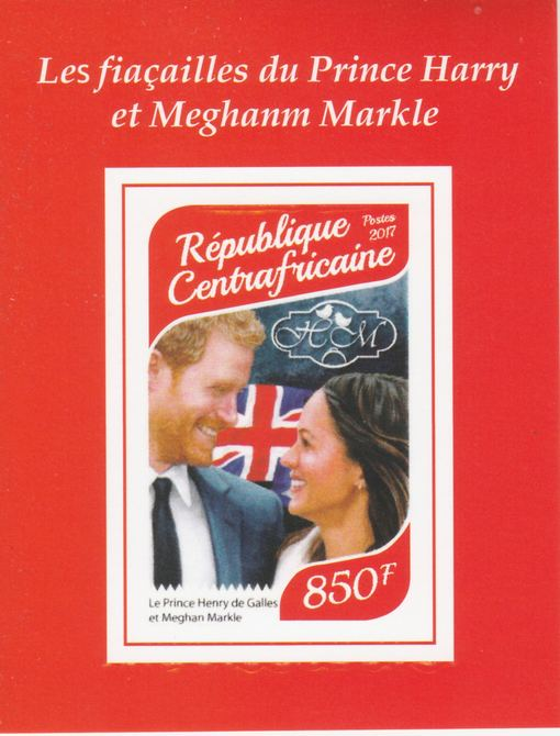 Central African Republic 2017 Prince Harry & Meghan #4 imperf deluxe sheet unmounted mint. Note this item is privately produced and is offered purely on its thematic appeal.