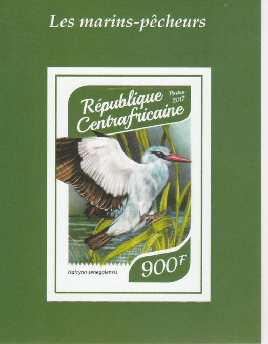 Central African Republic 2017 Birds - Kingfishers #2 imperf deluxe sheet unmounted mint. Note this item is privately produced and is offered purely on its thematic appeal.