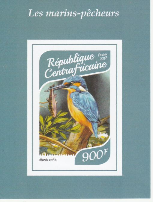 Central African Republic 2017 Birds - Kingfishers #4 imperf deluxe sheet unmounted mint. Note this item is privately produced and is offered purely on its thematic appeal.